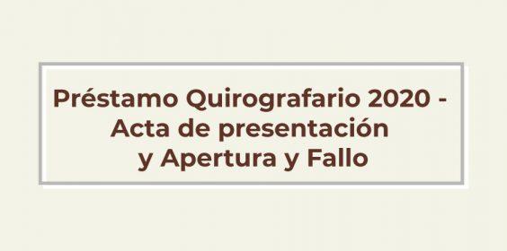 Préstamo Quirografario 2020