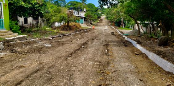 Continuación de construcción de pavimento hidráulico en la calle Miguel Hidalgo entre Zamora y Nicolás Bravo, en el municipio de Vega de Alatorre